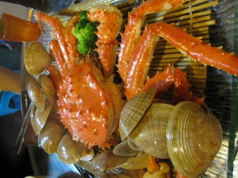 King crab and clams
