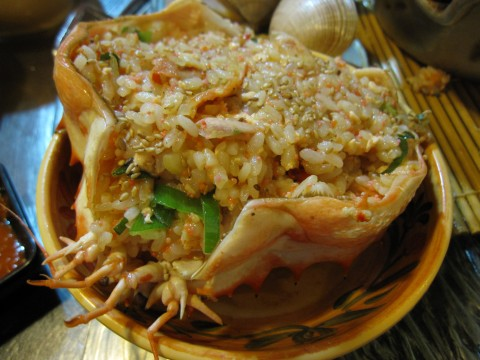 Fried rice in crab shell